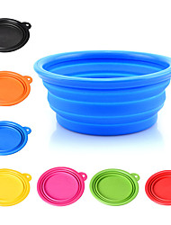 cheap -Dog Bowls & Water Bottles Silicone Portable Foldable Solid Colored Green Blue Pink Bowls & Feeding