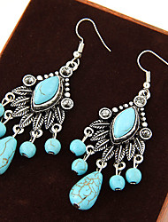 cheap -Women's Turquoise Drop Earrings Hanging Earrings Leaf Statement Vintage European Festival / Holiday Turquoise Earrings Jewelry Blue For Party Daily Casual