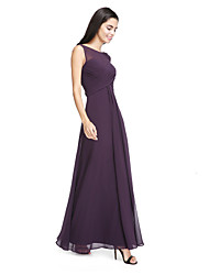 cheap -A-Line Bateau Neck Ankle Length Chiffon Bridesmaid Dress with Side Draping / Criss Cross / See Through