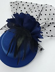 cheap -Tulle Feather Fabric Fascinators Hats Headpiece Classical Feminine Style