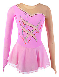 cheap -Figure Skating Dress Women's Girls' Ice Skating Dress Asymmetric Hem Spandex Leisure Sports Competition Skating Wear Breathable Handmade Fashion Long Sleeve Ice Skating Figure Skating