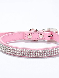 cheap -Cat Dog Collar Breathable Adjustable / Retractable Studded Running Casual Cosplay Safety Solid Colored Rhinestone PU Leather Black Red Blue Pink Rose