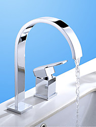 cheap -Bathroom Sink Faucet - Waterfall Chrome Widespread Two Holes / Single Handle Two HolesBath Taps