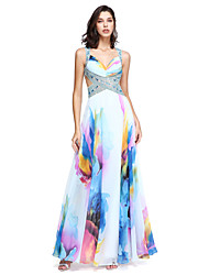 cheap -A-Line Straps Floor Length Chiffon Beautiful Back Homecoming / Formal Evening / Holiday Dress with Beading / Crystals / Pleats 2020
