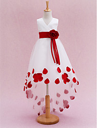 cheap -Princess Chapel Train First Communion Flower Girl Dresses - Satin / Tulle Sleeveless V Neck with Sash / Ribbon / Pleats / Flower