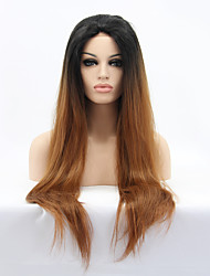 cheap -Synthetic Lace Front Wig Straight Style Lace Front Wig Ombre Black / Medium Auburn Synthetic Hair Women's Ombre Hair Natural Hairline Brown Wig