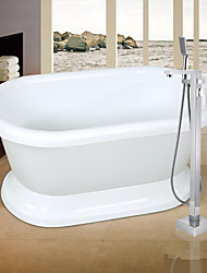 cheap -Contemporary Art Deco/Retro Modern Tub And Shower Handshower Included Pullout Spray Widespread Floor Standing Ceramic Valve Single Handle