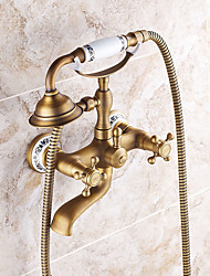 cheap -Shower Faucet Set Art Deco / Retro / Modern Antique Copper Wall Mounted Ceramic Valve Bath Shower Mixer Taps / Brass / Single Handle Three Holes