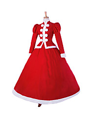 cheap -Princess Santa Suit Cosplay Costume Women's Christmas Halloween Carnival Festival / Holiday Lace Linen Red Carnival Costumes Solid Colored / Satin