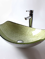 cheap -Bathroom Sink / Bathroom Faucet / Bathroom Mounting Ring Contemporary - Tempered Glass Rectangular Vessel Sink