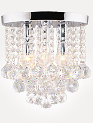 cheap -28 cm Semi Flush Mount Ceiling Light Modern LED Crystal Chandelier Chrome 3-Light Dining Room Bedroom Ceiling Lamp