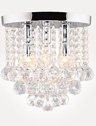 Недорогие -28 см полу потолочный светильник современный светодиодный хрустальная люстра хром 3 столовая спальня потолочный светильник