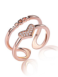 cheap -Band Ring Crossover Golden Silver Rose Gold Sterling Silver Heart Ladies Unusual Unique Design One Size / Knuckle Ring / Women's