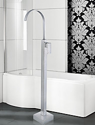 cheap -Contemporary Art Deco/Retro Modern Tub And Shower Waterfall Widespread Floor Standing Ceramic Valve Single Handle One Hole Chrome,