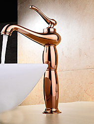 cheap -Contemporary Modern Centerset Widespread Ceramic Valve Single Handle One Hole Rose Gold, Bathroom Sink Faucet