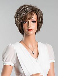 Недорогие -Человеческие волосы без парики Натуральные волосы Прямой / Классика Парик Повседневные / Прямой силуэт