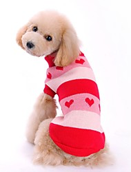 cheap -Cat Dog Sweater Winter Dog Clothes Red Blue Costume Acrylic Fibers Heart Casual / Daily XS S M L XL XXL