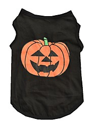 cheap -Cat Dog Shirt / T-Shirt Dog Clothes Black Costume Cotton Pumpkin Halloween XS S M L