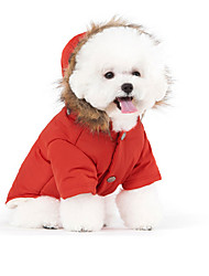 cheap -Cat Pets Dog Coat Hoodie Puffer / Down Jacket Winter Dog Clothes White Red Blue Costume Down Cotton Solid Colored Stylish Keep Warm Windproof S M L XL XXL