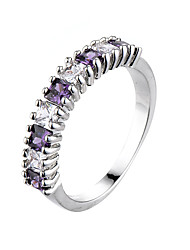 cheap -Women's Ring AAA Cubic Zirconia Amethyst Black Purple Red Zircon Cubic Zirconia Fashion Wedding Party Jewelry
