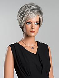 Недорогие -Человеческие волосы Парик Прямой Классика Короткие Прически 2020 Классика Прямой силуэт Серый 8 дюйм Повседневные