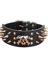 cheap -Dog Collar Adjustable / Retractable Studded Solid Colored PU Leather Black Red Gold