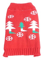 cheap -Cat Dog Sweater Winter Dog Clothes Red Costume Acrylic Fibers Snowflake Christmas New Year's XS S M L XL XXL