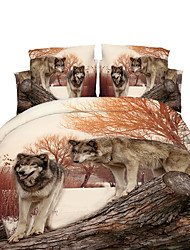 cheap -Duvet Cover Sets 3D Polyester Reactive Print 4 PieceBedding Sets / 300 / 4pcs (1 Duvet Cover, 1 Flat Sheet, 2 Shams)