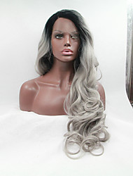 cheap -sylvia synthetic lace front wig black roots grey hair heat resistant long wavy natural look synthetic wigs