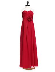 cheap -Sheath / Column Sweetheart Neckline Floor Length Chiffon Junior Bridesmaid Dress with Criss Cross / Ruched / Flower / Natural