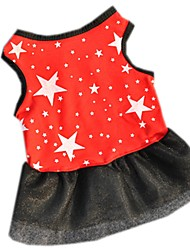 cheap -Cat Dog Dress Dog Clothes Black Red Costume Cotton Stars Casual / Daily XS S M L