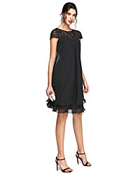 cheap -A-Line Jewel Neck Knee Length Chiffon / Beaded Lace Short Sleeve Little Black Dress Mother of the Bride Dress with Pleats / Beading 2020