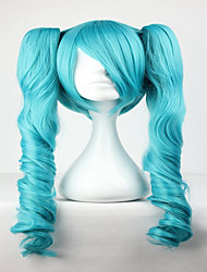 cheap -fashion master green mixed vocaloid miku 65cm long wavy braided synthetic girl s hair cosplay wig Halloween