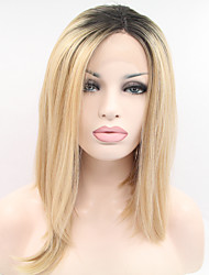 cheap -Synthetic Lace Front Wig Straight Straight Bob Lace Front Wig Blonde Black / Strawberry Blonde Synthetic Hair Women's Middle Part Bob Blonde