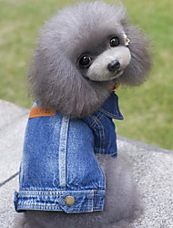 cheap -Dog Denim Jacket / Jeans Jacket Winter Dog Clothes Blue Costume Denim Jeans Cowboy Fashion S M L XL XXL
