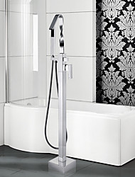 cheap -Contemporary Art Deco/Retro Modern Tub And Shower Waterfall Pullout Spray Floor Standing Ceramic Valve Single Handle One Hole Chrome,