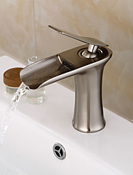 cheap -Bathroom Sink Faucet - Pre Rinse / Waterfall / Widespread Nickel Brushed Centerset Single Handle One HoleBath Taps
