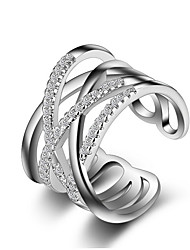 cheap -Women's Band Ring Knuckle Ring wrap ring Crystal Synthetic Diamond Golden Silver Rose Gold Sterling Silver Imitation Diamond Ladies Unusual Unique Design Wedding Party Jewelry Crossover X Ring Cross