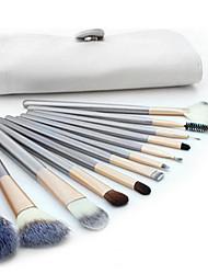 abordables -Professionnel Pinceaux à maquillage ensembles de brosses 12 pcs Couvrant Pinceau en Poils de Chèvre Bois Pinceaux de Maquillage pour Set de Pinceaux de Maquillage