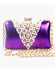 cheap -Women's Beading / Pearl / Imitation Pearl Evening Bag Rhinestone Crystal Evening Bags leatherette Solid Colored Black / Golden / Purple