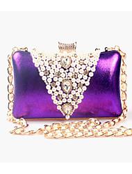 abordables -Femme Billes / Perle / Imitation Perle Pochette Sacs de soirée en cristal strass Similicuir Couleur Pleine Noir / Doré / Violet
