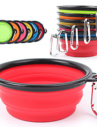 cheap -Dog Bowls & Water Bottles Silicone Portable Foldable Green Blue Pink Bowls & Feeding