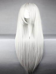 cheap -american style high quality synthetic vocaloid haku silvery white long straight cosplay wig Halloween