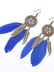 cheap -Women's Wings Flower Vintage Bohemian European Fashion Native American Feather Earrings Jewelry Blue / Pink / Rainbow For Party Daily Casual