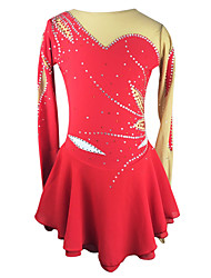 cheap -Figure Skating Dress Women's Girls' Ice Skating Dress Red Elastane High Elasticity Outdoor clothing Competition Skating Wear Breathable Handmade Fashion Floral Botanical Long Sleeve Ice Skating