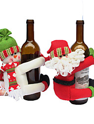 cheap -Christmas decorate red wine beer bottle dolls sets Santa Claus Snow man Christmas party family hotel Restaurant