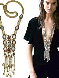 cheap -Women's Pearl Pendant Necklace Statement Necklace Layered Tassel Fringe Long Ladies Tassel Bohemian Fashion Pearl Alloy Golden Silver 80 cm Necklace Jewelry For Party Daily Casual / Long Necklace