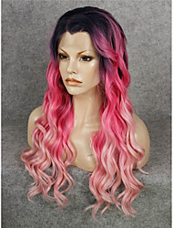 cheap -Synthetic Lace Front Wig Wavy Wavy Lace Front Wig Pink Pink Synthetic Hair Women's Pink