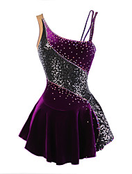 cheap -Figure Skating Dress Women's Girls' Ice Skating Dress Purple Velvet Stretchy Competition Skating Wear Breathable Handmade Fashion Floral Botanical Sleeveless Ice Skating Figure Skating / Winter