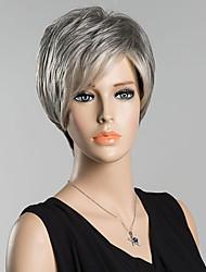 cheap -Human Hair Wig Short Straight With Bangs Straight Side Part Women's Black#1B Grey